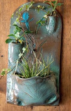 hand-built wall fountain/planter