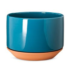 Terracotta Planter 9 Blue - Modern by Dwell Magazine Modern Planters, Outdoor Planters, Planter Pots, Screened In Deck, Mothers Day Decor, Yard Design, Blue Accents, Container Plants, Home Collections