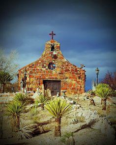 Church in New Mexico.... Love the desert landscape!