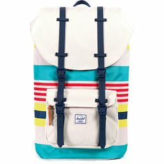 Ventilated air mesh back panels and shoulder straps provide cooling comfort with rubber magnetic closure buckle front and top compartments and a Malibu stripe pattern for style.
