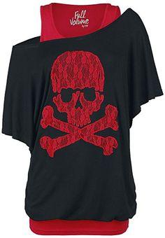 210ecc76c2ba Full Volume by EMP Lace Skull Girl-Shirt schwarz rot XXL  Amazon.de   Bekleidung