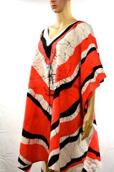 Handmade Batik Poncho Cotton Kaftan Beach Kaftan by Lounge85