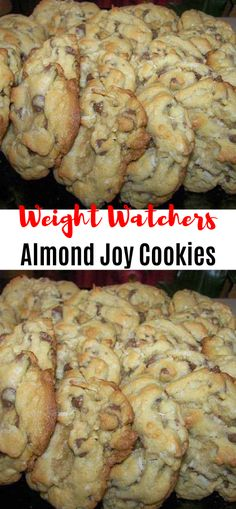 Weight Watchers Almond Joy Cookies , Amazing cookies loaded with chocolate chips, almonds and coconut. Dessert Weight Watchers, Weight Watcher Cookies, Plats Weight Watchers, Weight Watchers Diet, Cookies Almond Joy, Keto Cookies, Healthy Cookies, Skinny Recipes, Ww Recipes