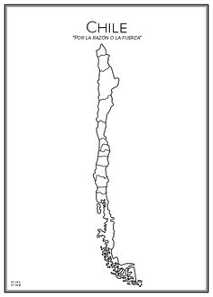 Chile, by madde-design. City Drawing, Map Outline, Country Maps, School Projects, Tatoos, Tatting, Flora, Homeschool, Ink