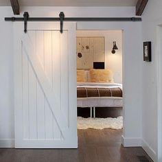 New 6 FT Black Modern Antique Style Sliding Barn Wood Door Hardware Closet Set #Goplus