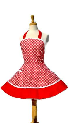 Retro Apron - Sweetheart Sexy Pinup Kitchen Apron Handmade in Cute Red + White Print, 40s vintage apron