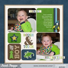 Layout by SugarBabe Jacinda EZ Albums v.2 {rounded} by Erica Zane Snips and Snails by Melissa Bennet and Amber Shaw #sweetshoppedesigns #digitalscrapbooking #scrapbook #baby #layout