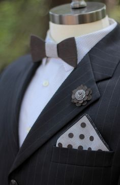These wooden bow ties and lapel pins are the coolest! Tucson Bride and Groom, groom, groom's accessories, Tucson wedding,  Two Guys Bowties
