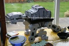 Homemade AT-AT Star Wars Cake: I searched all over the internet for a cool Star wars cake to make, and either they fed too many, or were way too complicated! My son was set on having