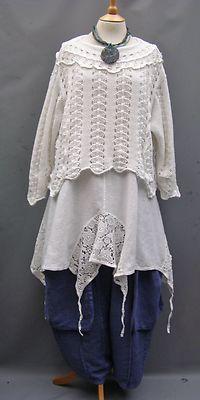La Bass Just in Denim Blue Linen Tulip Baggy Pocket Trousers Sizes 2 3   eBay