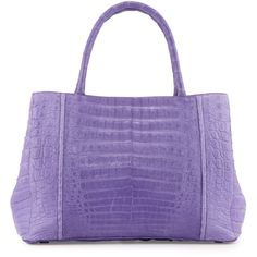 Nancy Gonzalez Small Sectional Crocodile Tote Bag (6.290 RON) ❤ liked on Polyvore featuring bags, handbags, tote bags, purple, handbags totes, purple purse, zippered tote, zip tote bag and zipper purse
