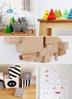 DIY Advent calendar ideas - love the little mountain, tree and animal scene!