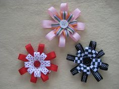 """Cut 4pcs 6.5"""" each. Lay criss-cross and glue to center. For middle, cut 4"""" and do the same. Glue together and add embellishment."""