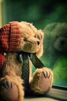 Waiting for my friend to come home....  #teddybear #teddybears