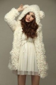 Beige Teddy Bear Plush Hooded Jacket, LOVE!