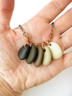 Coffee-colored pebble necklace :) (that I made!)