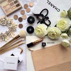 Chanel makeup, Celine nude clutch bag and white roses for the lady.