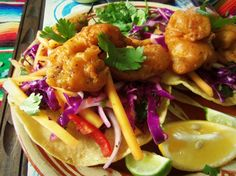Beer-Battered Catfish Tostadas with a Mango Cabbage Slaw