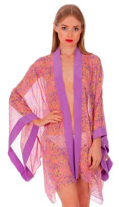 The Floracion de la Esperanza kimono by Liz Nehdi is perfect poolside or in the bedroom