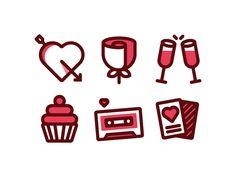 Valentines Day Icons by Adam M Stevens #Design Popular #Dribbble #shots