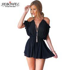 0bef61576380 Strap Black White Elegant Jumpsuit Romper Sexy Deep V-neck Playsuits  Backless Summer Playsuit Women Boho Floral Short Overalls