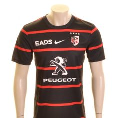 11b1f1e81a0 Nike Toulouse Home Rugby Shirt Black, Red and White - £55.00 at ShopRugby.