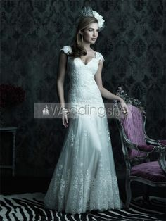 Elegant A-Line V-Neck Cap-Sleeves Court Tran Wedding Dress