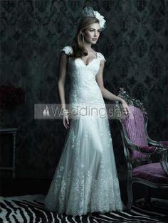 Elegant A-Line V-Neck Cap-Sleeves Court Tran Wedding Dress