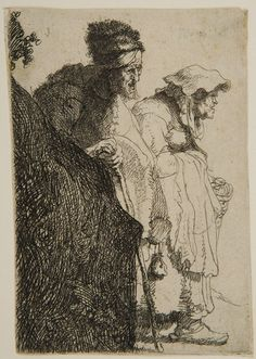 Rembrandt van Rijn – Beggar Couple behind a Bank,  Etching | Harvard Art Museums