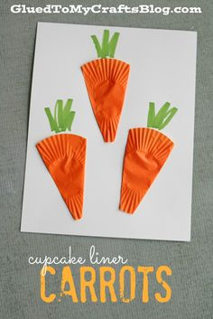 Cupcake Liner Carrots - easy craft for kids!