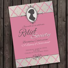 Relief Society Birthday Party Invitation with by AmysSimpleDesigns, $10.00