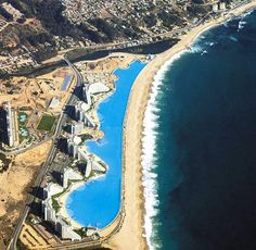 The worlds largest swimming pool - Crystal Lagoon at the San Alfonso del Mar Resort, Chile