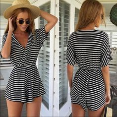 Coming soon! Black white striped romper playsuit Ships mid March. Fits s or m  (NOTE: If purchased in a bundle, will be shipped separately when it arrives at now additional charge) ❤️ pc Wholsaler Dresses
