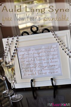 New Year's Free Printable ~ Auld Lang Syne | {Five Heart Home}