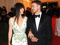 Justin Timberlake & Jessica Biel Celebrate Their Engagement at Cocktail Party | Jessica Biel, Justin Timberlake    (Amazing dress.  Icons of my youth…I guess.)