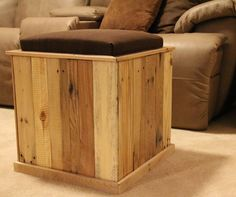 Cushioned Ottoman Made from Shipping Pallets. $60.00, via Etsy.