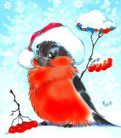 have a nice snowy weekend Christmas Bird, Christmas Drawing, Christmas Scenes, Christmas Paintings, Vintage Christmas Cards, Christmas Pictures, Vintage Cards, Christmas Crafts, Illustration Noel