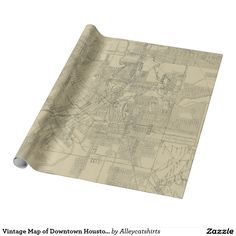 Vintage Map of Downtown Houston (1913) Wrapping Paper