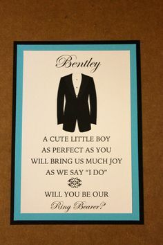 Looking for a creative way to ask your Ring Bearer? What better way then with a cute card custom made to your needs!    I can create this card for you