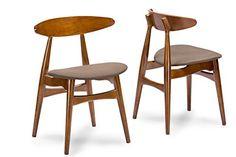 nice Baxton Studio Flamingo Mid-Century Dark Walnut Wood and Grey Faux Leather Dining Chairs