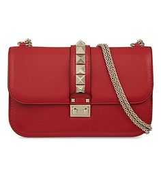 VALENTINO Lock stud leather clutch (Red Studded Leather, Leather Clutch,  Leather Purses, 69f0e6d7610