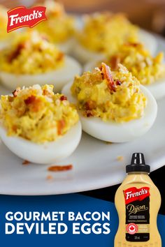 Creamy, crunchy, and full of flavour, these Gourmet Bacon Deviled Eggs have everything you're craving at Easter Brunch! Mix in sweet pickle relish and Dijon mustard to really kick up the flavour. Yummy Appetizers, Appetizer Recipes, Snack Recipes, Cooking Recipes, Snacks, Bacon Deviled Eggs, Deviled Eggs Recipe, Egg Recipes, Great Recipes