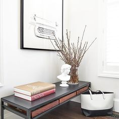 A little corner of Vanessa Francis' newly designed home office - One Room Challenge 2017. Modern meets traditional in this functional office space. Vanessa Francis Design   #Regram via @decorhappy