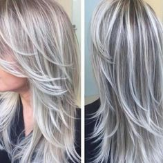 New hair color brown grey blonde highlights Ideas pins Covering Gray Hair, Transition To Gray Hair, Low Lights Hair, Light Hair, Icy Blonde, Platinum Blonde, Blonde Balayage, Golden Blonde, Blonde Color