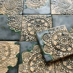I love beautiful tile & ceramic work. I would love these as accent pieces in a backsplash. Just lovely. Ceramic Tile Art, Clay Tiles, 3d Tiles, Handmade Tiles, Handmade Pottery, Handmade Ceramic, Slab Pottery, Ceramic Pottery, Clay Projects