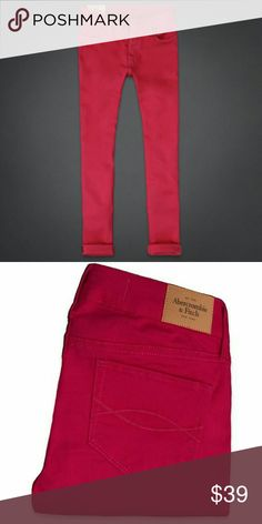 """New! Abercrombie & fitch Fushia jegging Brand New - Never worn  These jeggings are super comfortable and have a super soft almost suede like texture with a jegging feel. They're stretchy and are a beautiful rich Fushia/magenta.  Size 4/27 Regular Length -29 Rise- 8.5""""  Materials - 80% Cotton 3% elastane 17%viscose  Price has been lowered significantly **Price is Firm** Abercrombie & Fitch Jeans Skinny"""