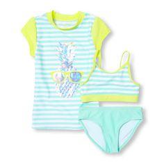 Girls Short Sleeve Foil Pineapple Graphic Rashguard and Striped Bikini 3-Piece Swimsuit Set $24.47