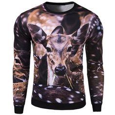 Cool Animal Sika Deer Head Pattern Rib Splicing Round Neck Long Sleeves Men's 3D Printed Sweatshirt #men, #hats, #watches, #belts, #fashion, #style
