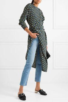 Gucci - Crystal-embellished leather mules. Black Leather MulesLeather Slip  OnsCrystalsWrap DressesFashionGucciModaFashion ... bdc7e6ccabbf
