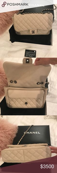 09dd4734f27178 Chanel Ivory Caviar leather flap bag This is a beautiful Ivory caviar  leather bag. Pristine